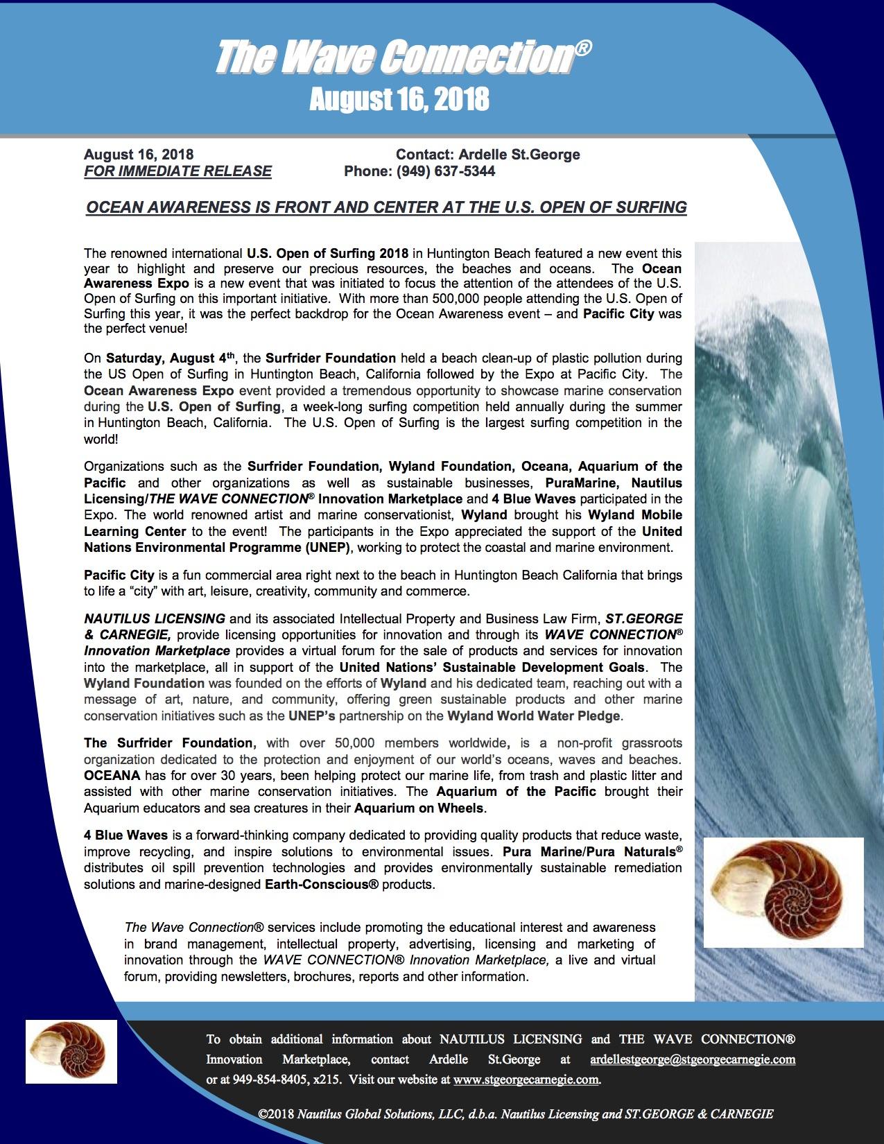 wave connection ocean awareness press releasepdf - 180816
